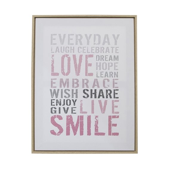 Quadro Decorativo Words Smile Canvas Branco 45X60X4cm