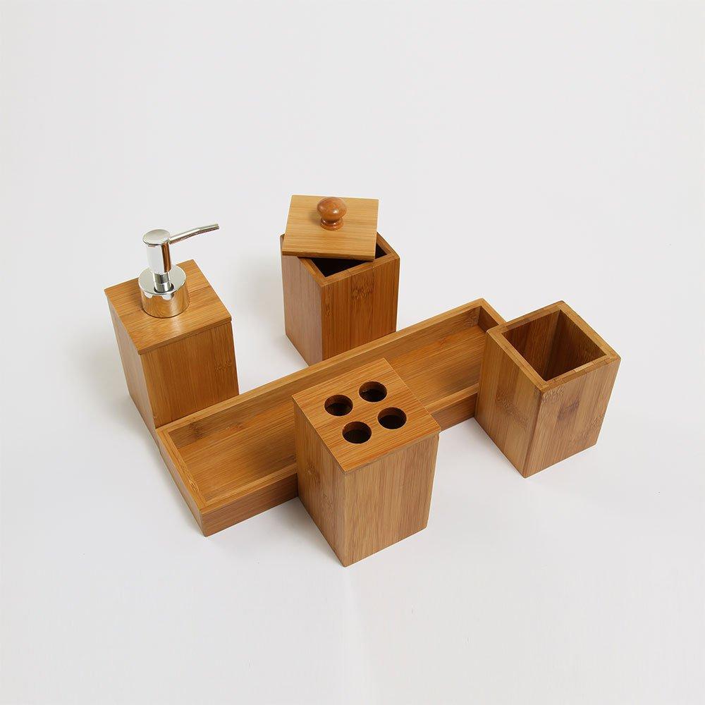 Jogo De Bambu Para Banheiro Bambus Natural 5 Pecas Camicado