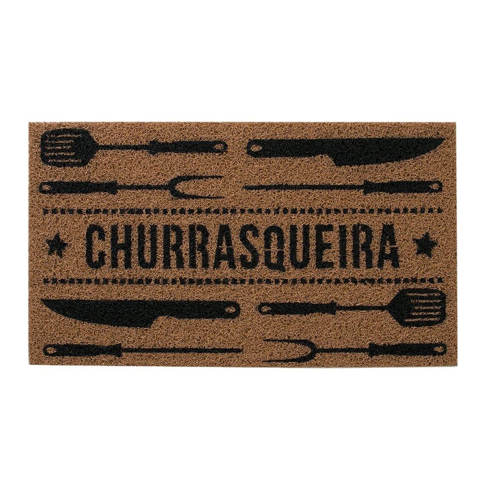 Capacho Churrasqueira Capuccino e Preto 40x75cm