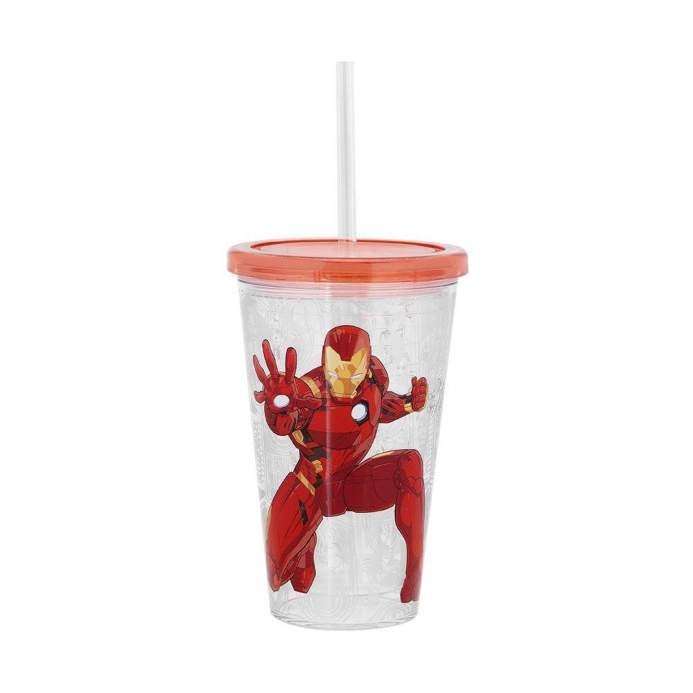 Copo com Canudo Marvel Vingadores Homem de Ferro 500 ml - Home Style