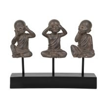 Adorno Decorativo Nostalgia Trio Young Monks 38 cm x 25 cm - Home Style