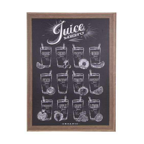 Quadro Decorativo Juice Menu 30 cm x 40 cm