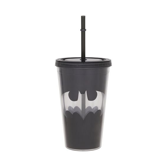 Copo com Canudo Batman Logo 500 ml