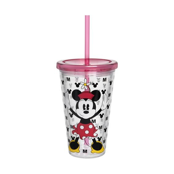 Copo com Canudo Minnie Ícone 500 ml - Home Style